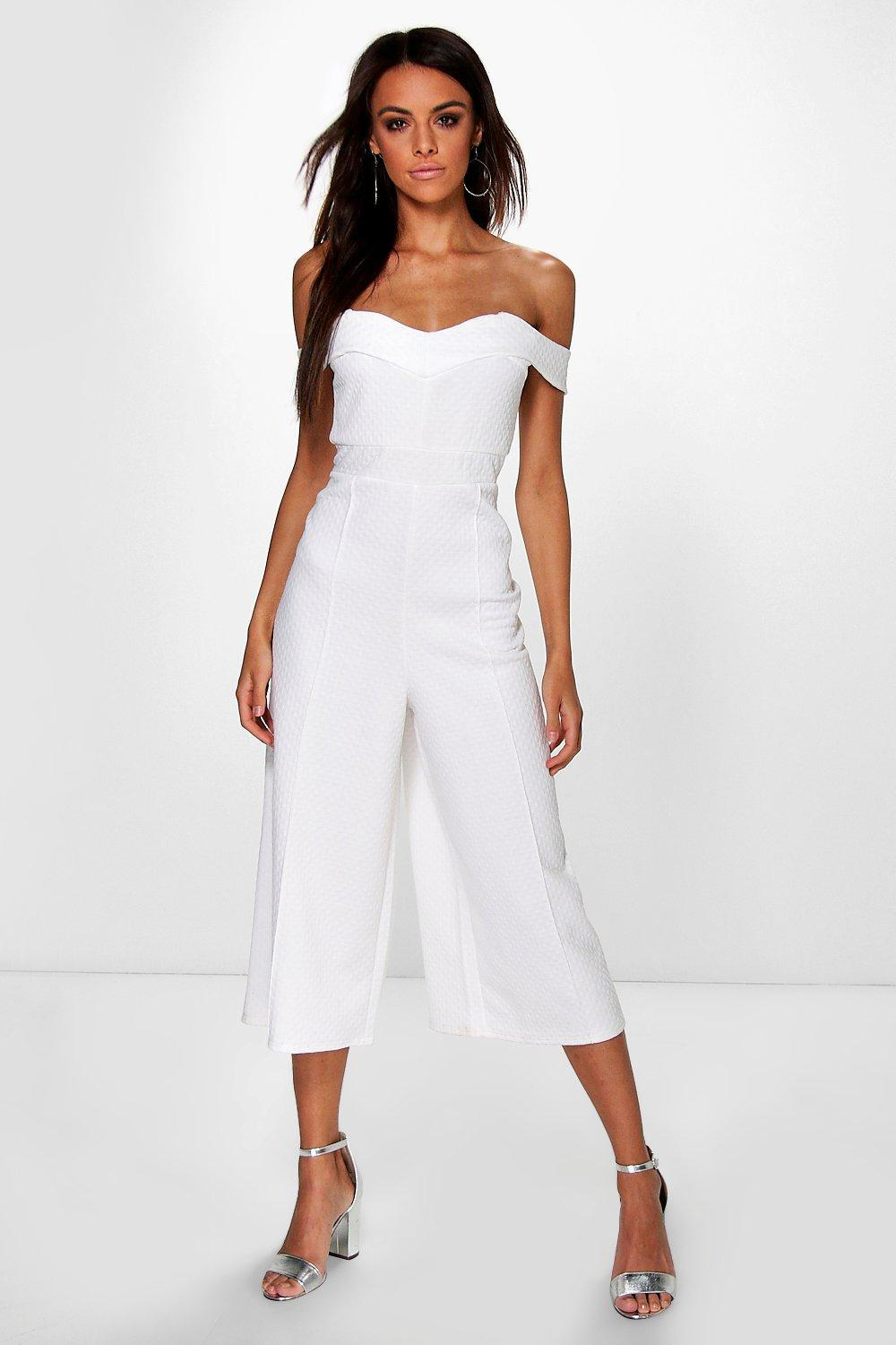 Amy Textured Bardot Structured Culotte Jumpsuit