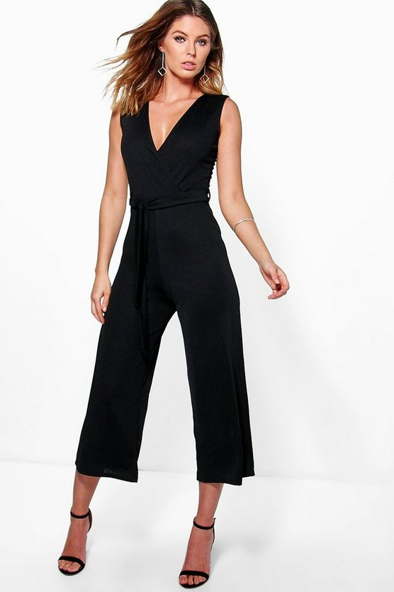 Mia Wrap Front Belted Culotte Jumpsuit