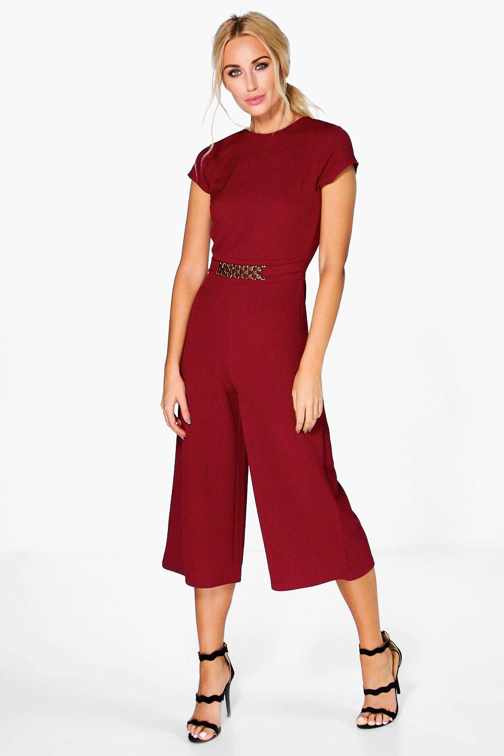 Zoe Capped Sleeve Chain Detail Jumpsuit