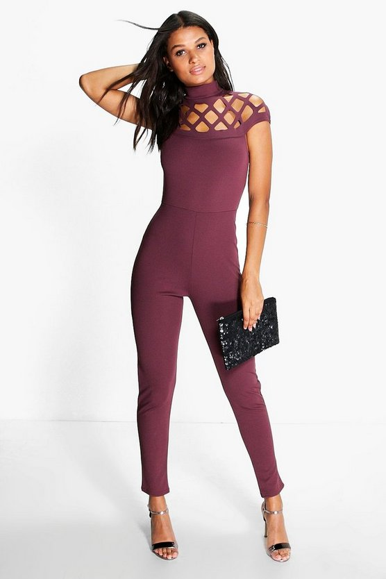 Boutique Anni Statement Neck Skinny Leg Jumpsuit