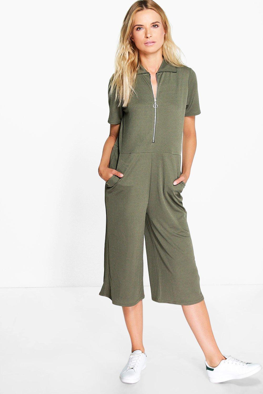 Zip Front Jumper Style Culotte Jumpsuit  khaki