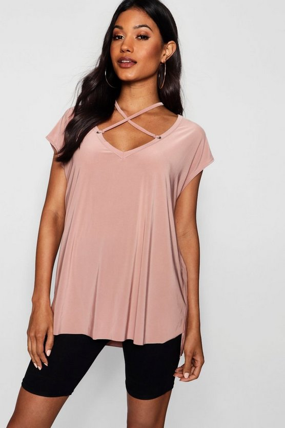 Maria Slinky Eyelet Cross Over Detail Top