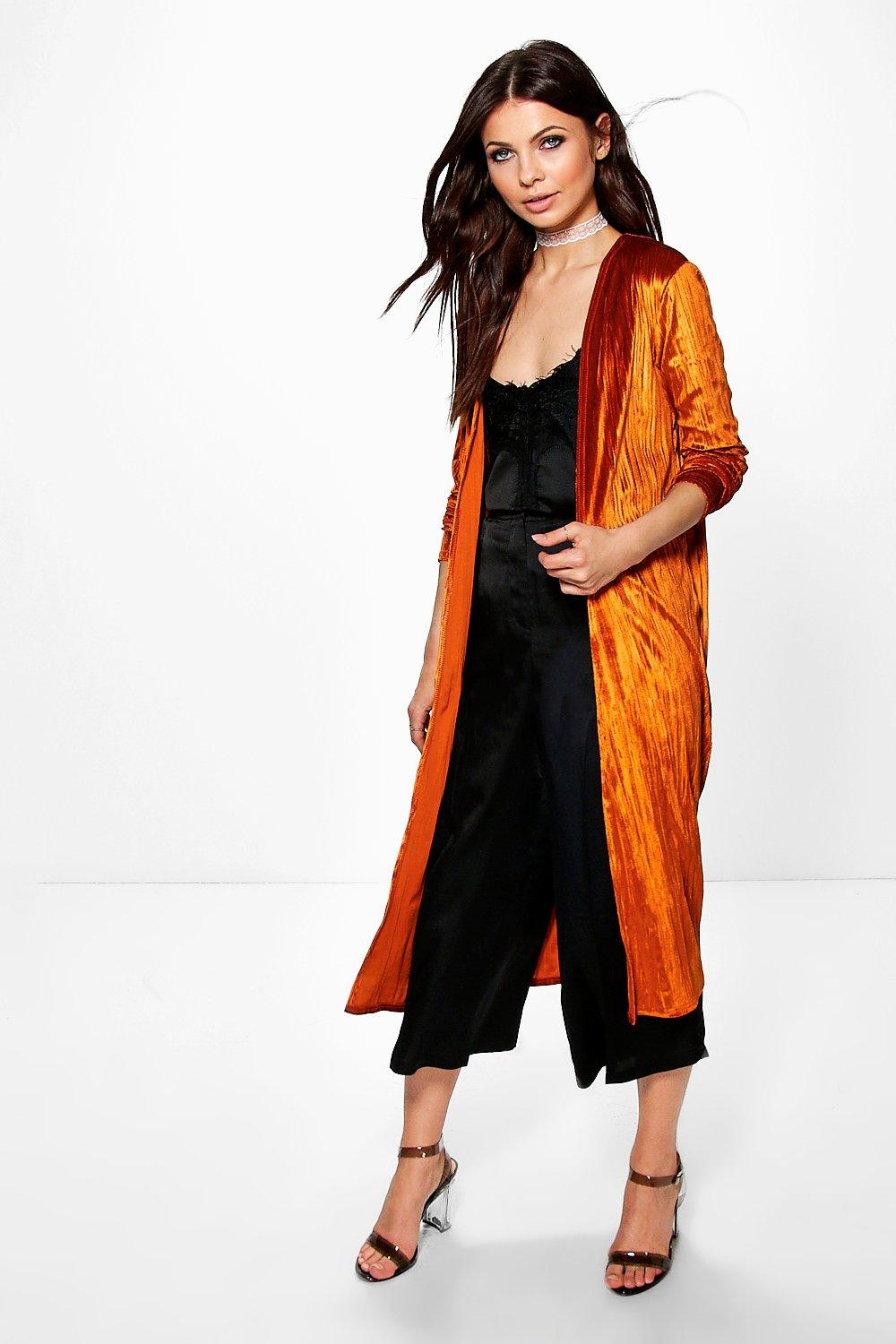 Emilia Pleated Crushed Velvet Duster