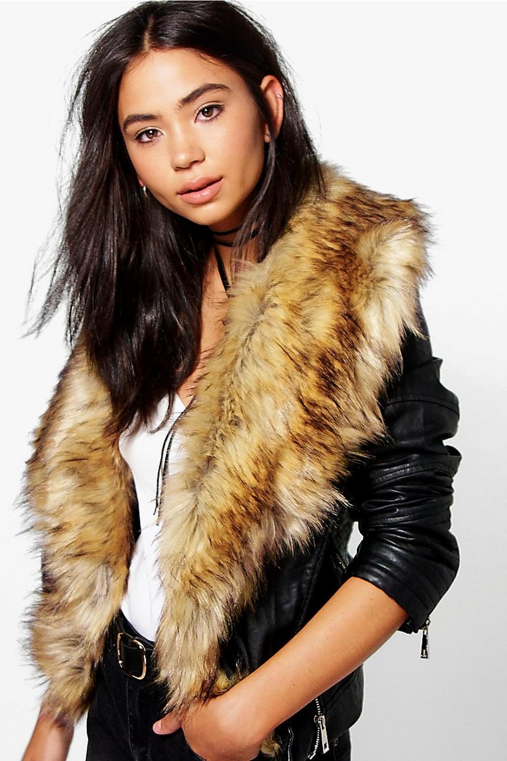 Saskia Boutique Faux Fur Trim Biker Jacket