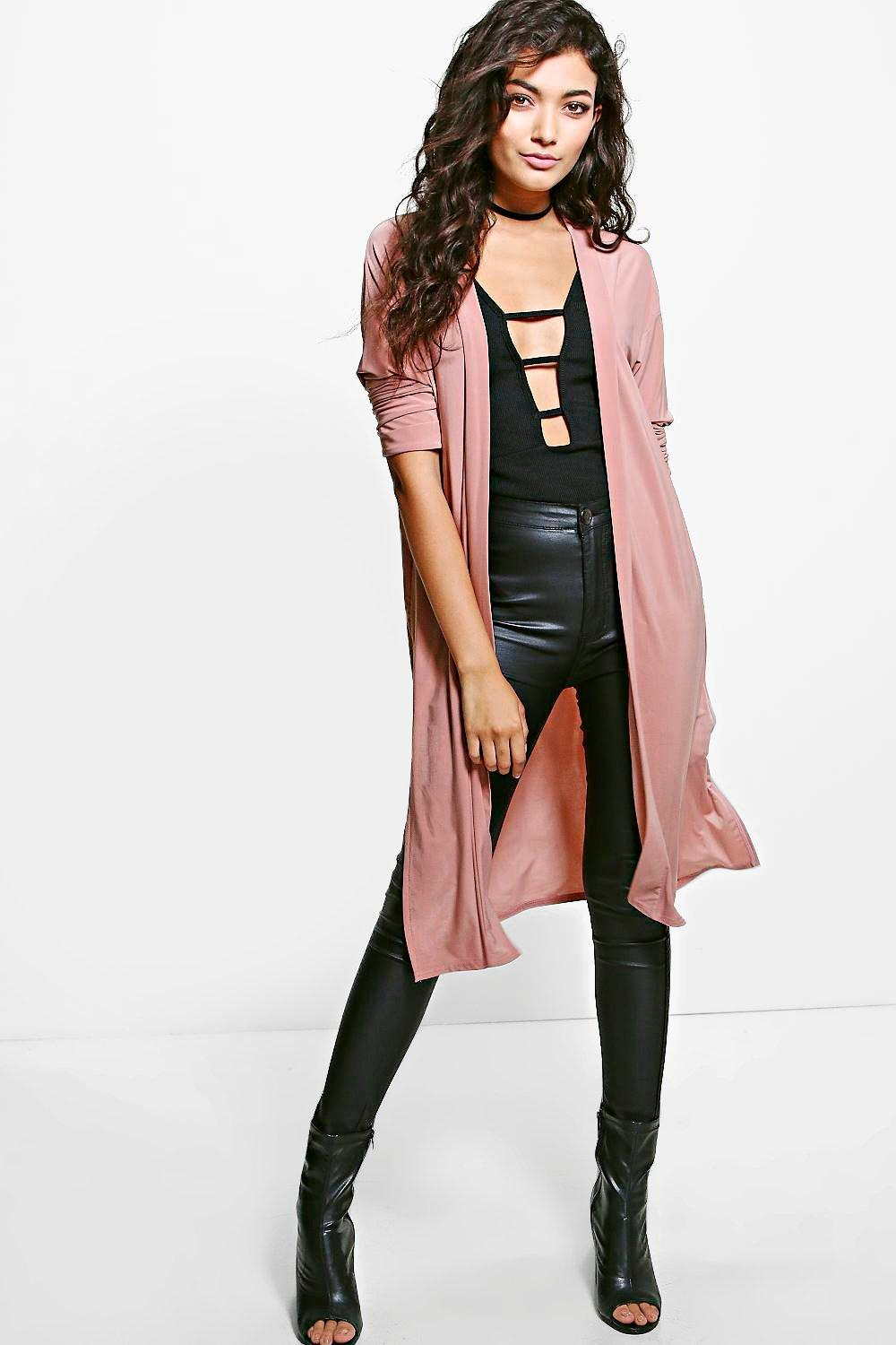 Split Side Duster Coat rose