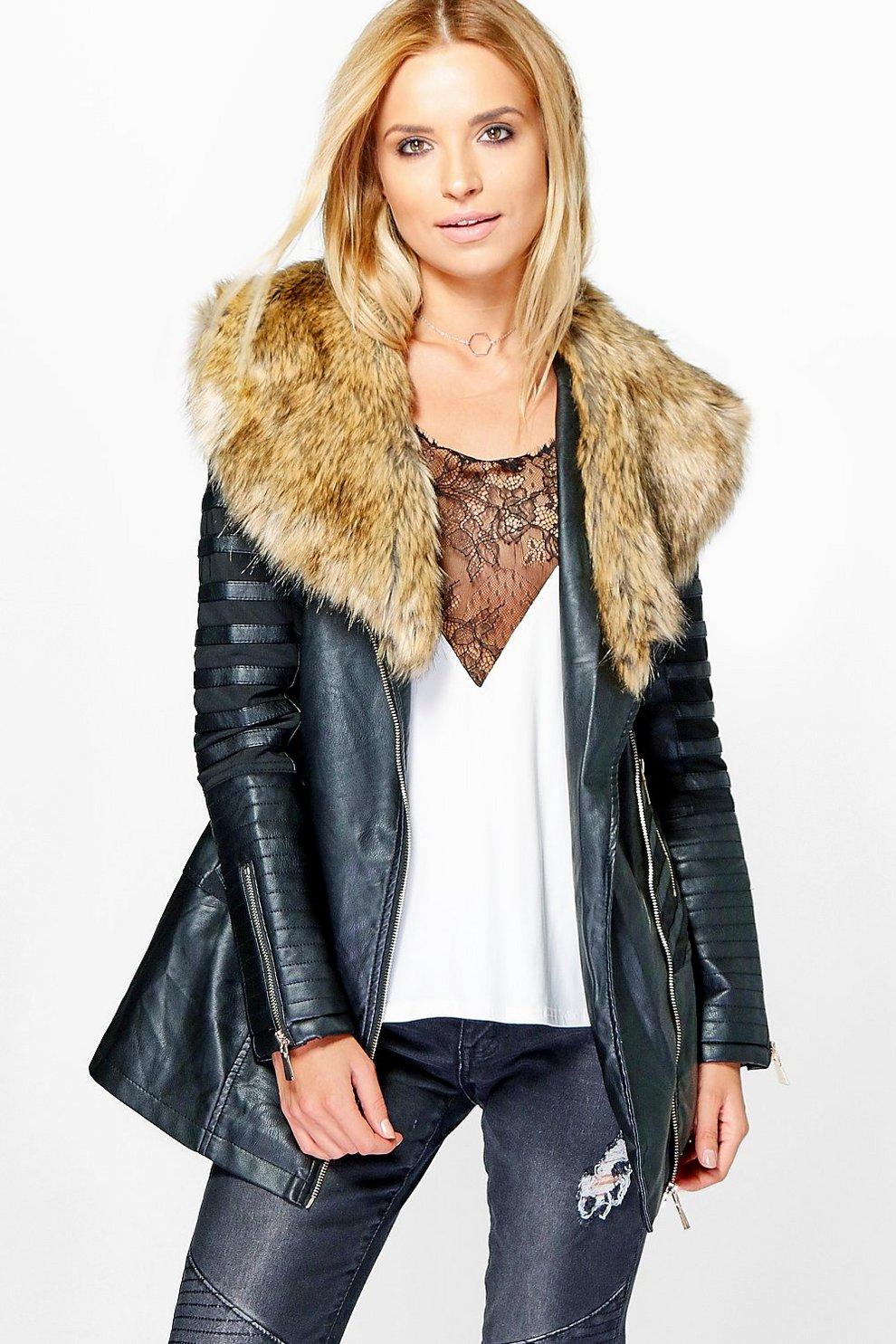 Brooke Longline Faux Fur Trim Faux Leather Jacket | Boohoo