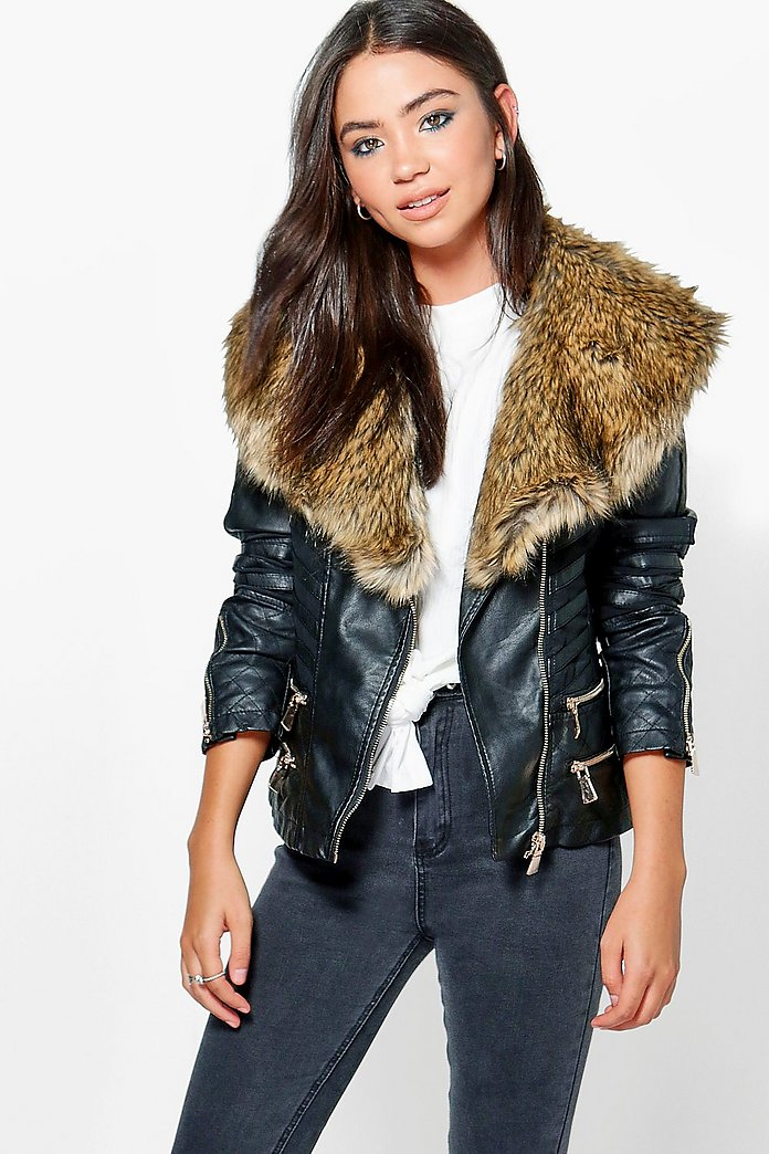 Bethany Boutique Faux Fur Trim Zip Biker Jacket