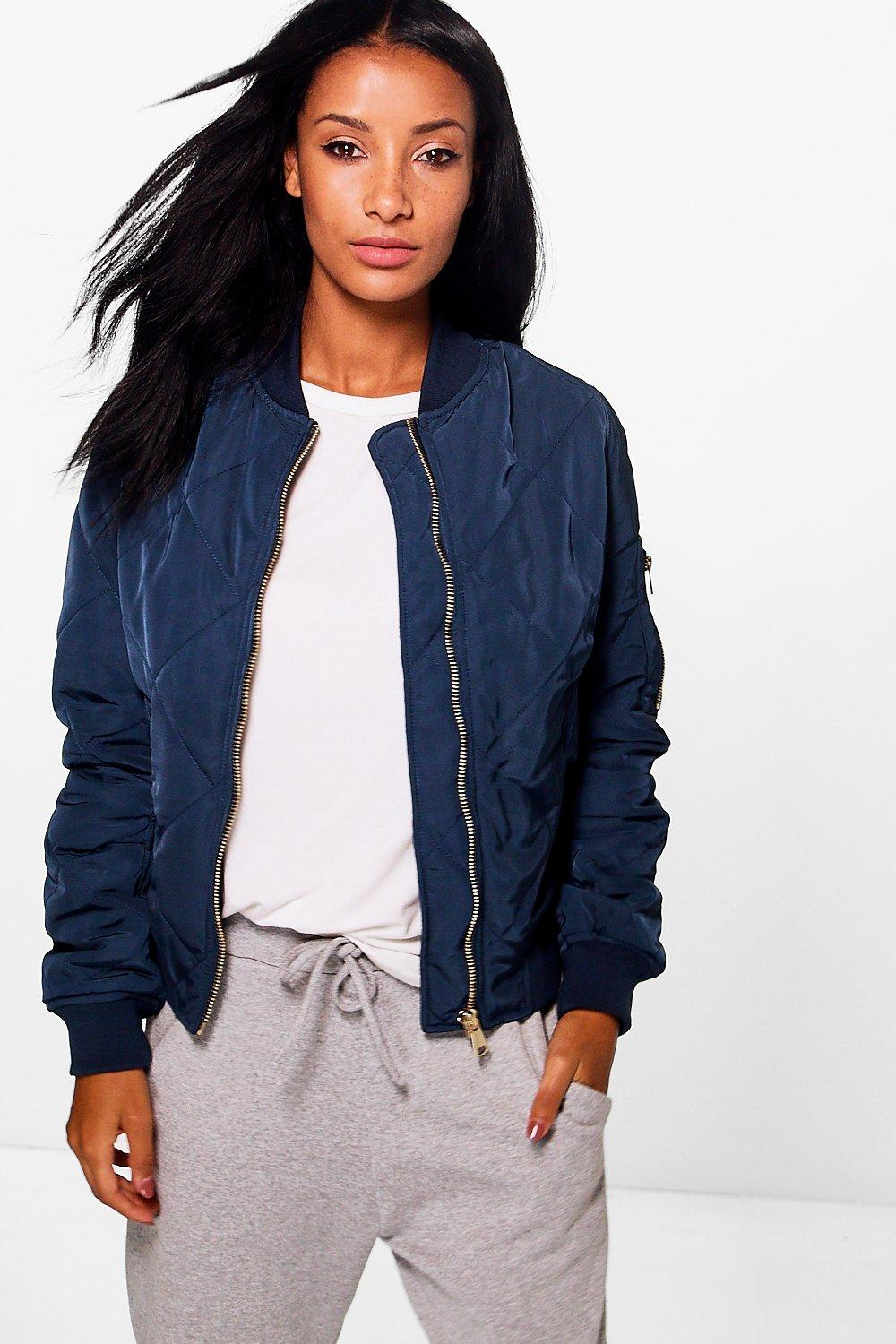 Quilted Bomber - navy