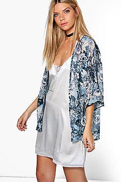 Madison Floral Chiffon Print Kimono