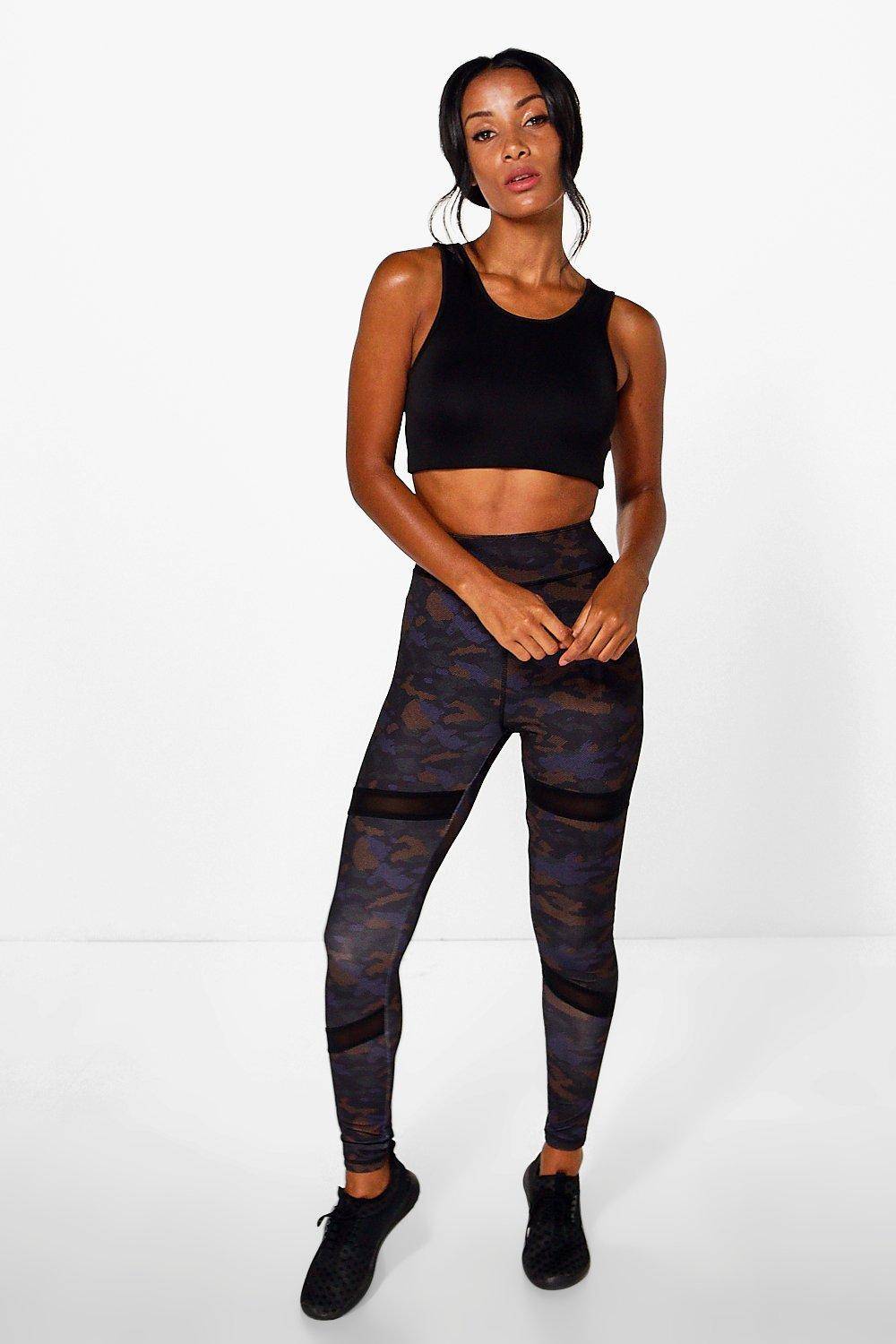 Ella FIT Camo Mesh Insert Running Leggings