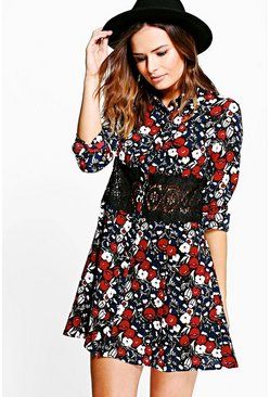 Edna Lace Trim Shirt Dress