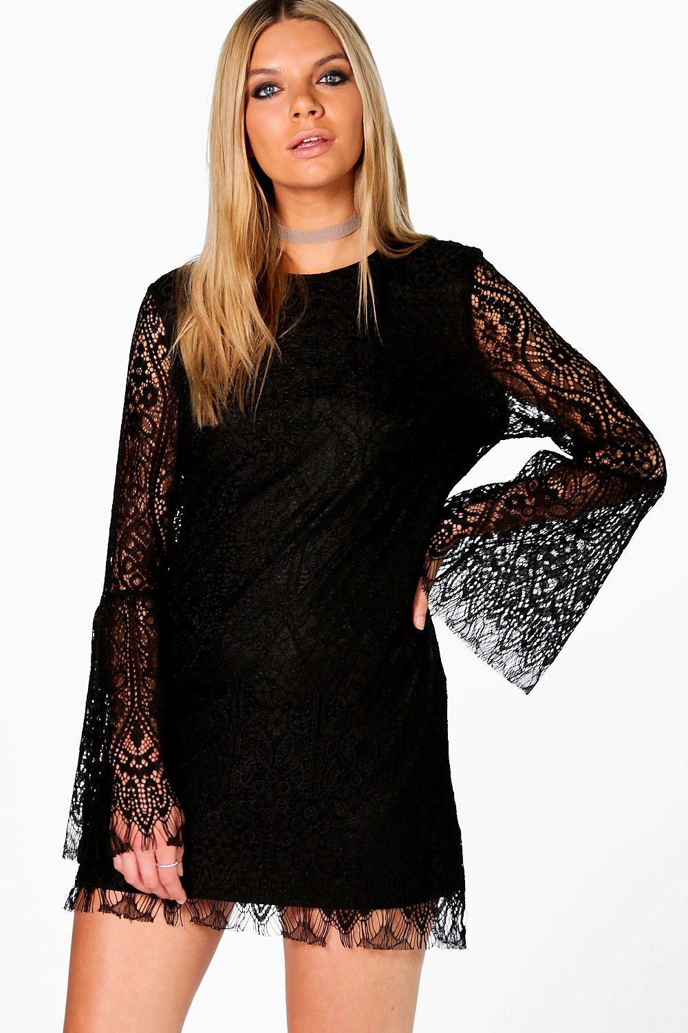 Quinn Flute Sleeve Lace Shift Dress