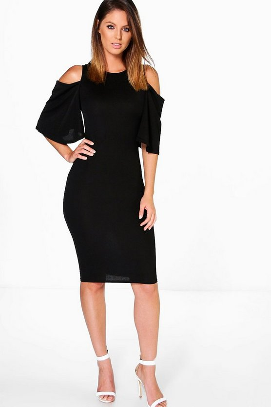 Grace Open Shoulder Bell Sleeve Midi Dress