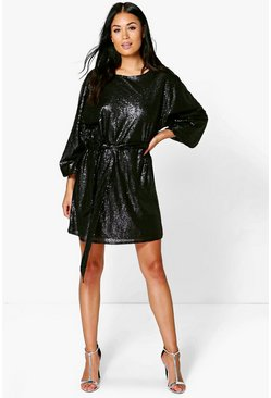 Mya Sequin Belted Long Sleeve Shift Dress