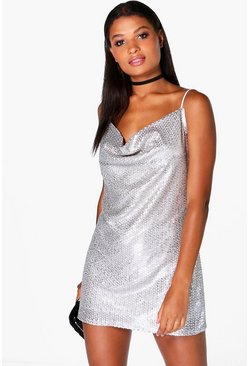 Leah Sequin Cowl Front Strappy Slip dress