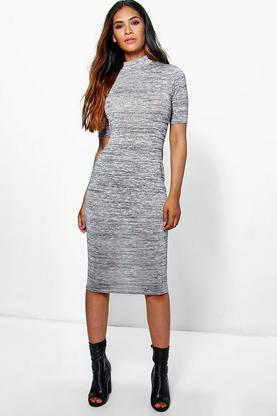 Bella Metallic High Neck Midi Dress