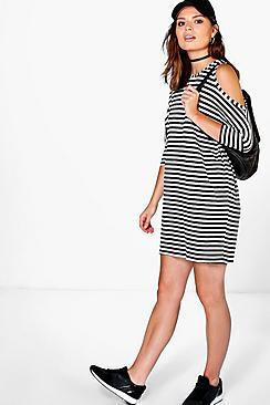 Xavi Stripe Cold Shoulder Dress