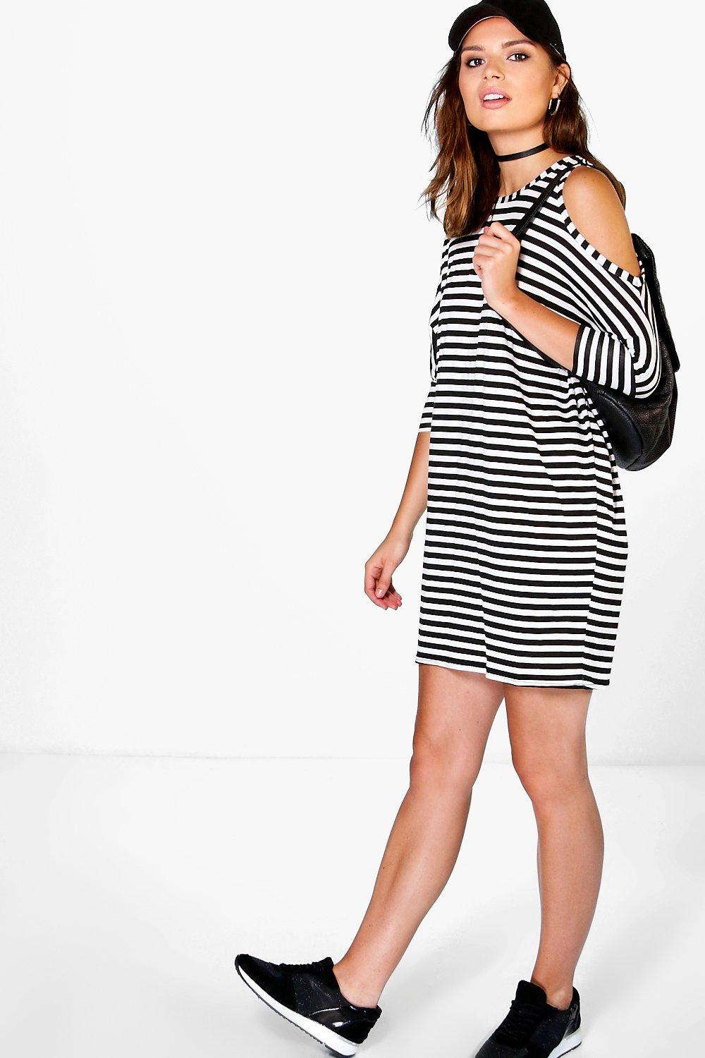 Xavi Stripe Cold Shoulder Dress