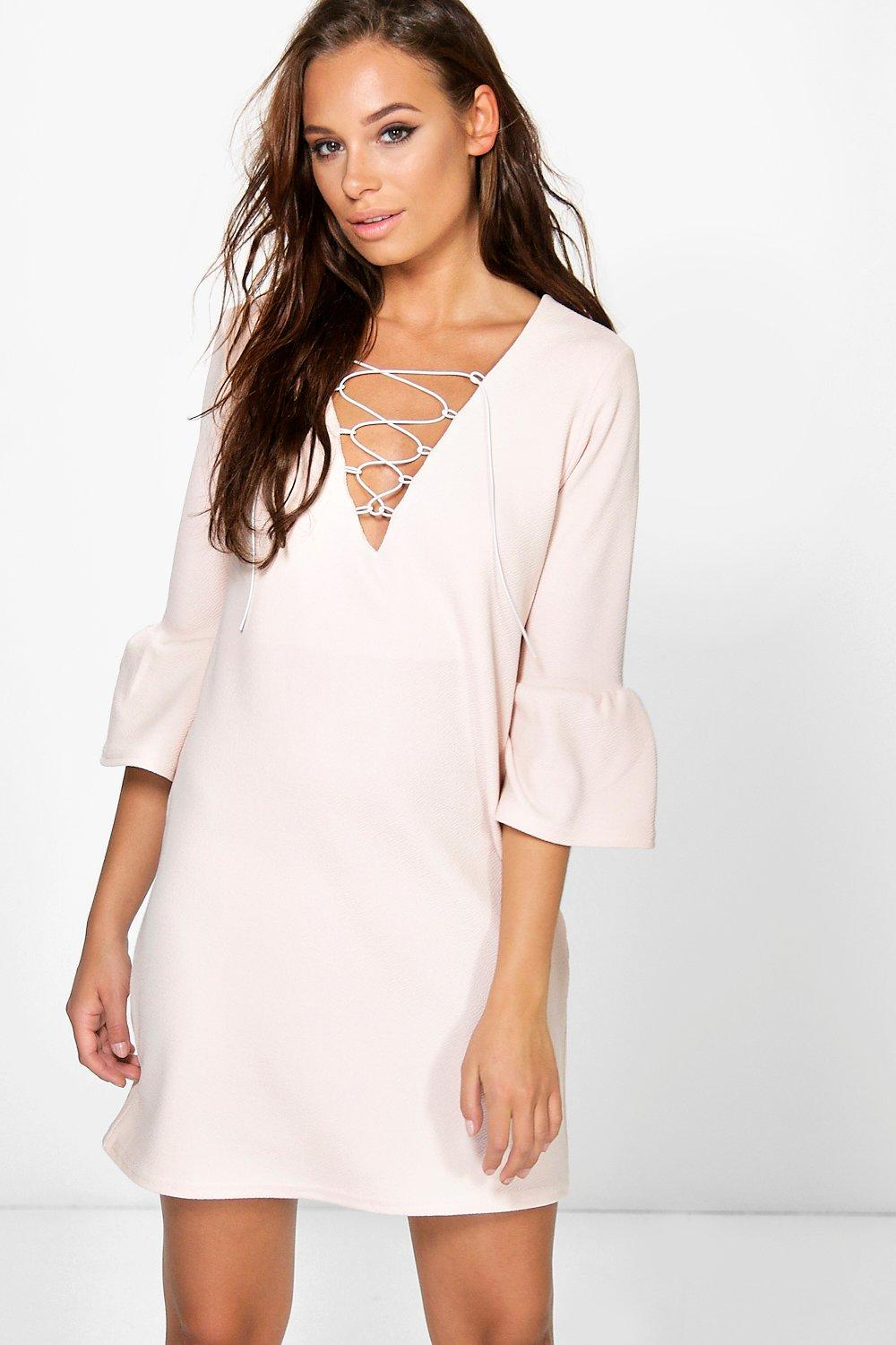 Laura Flute Sleeve Lace Up Shift Dress