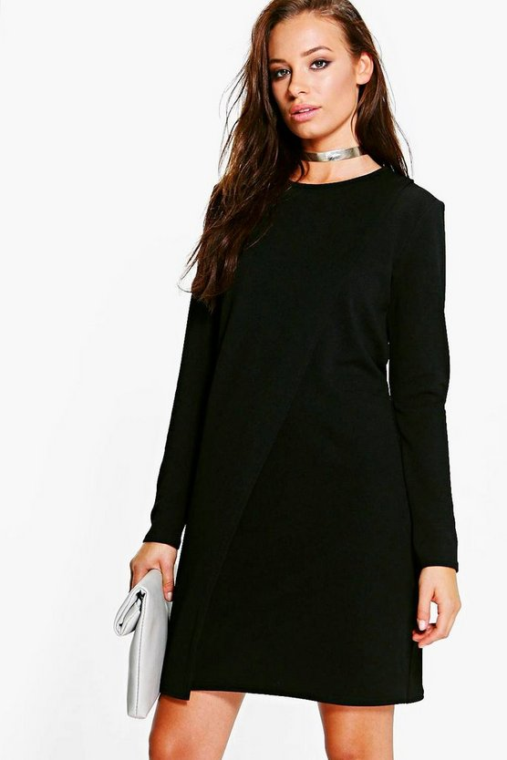 Jenny Long Sleeve Wrap Over Shift Dress