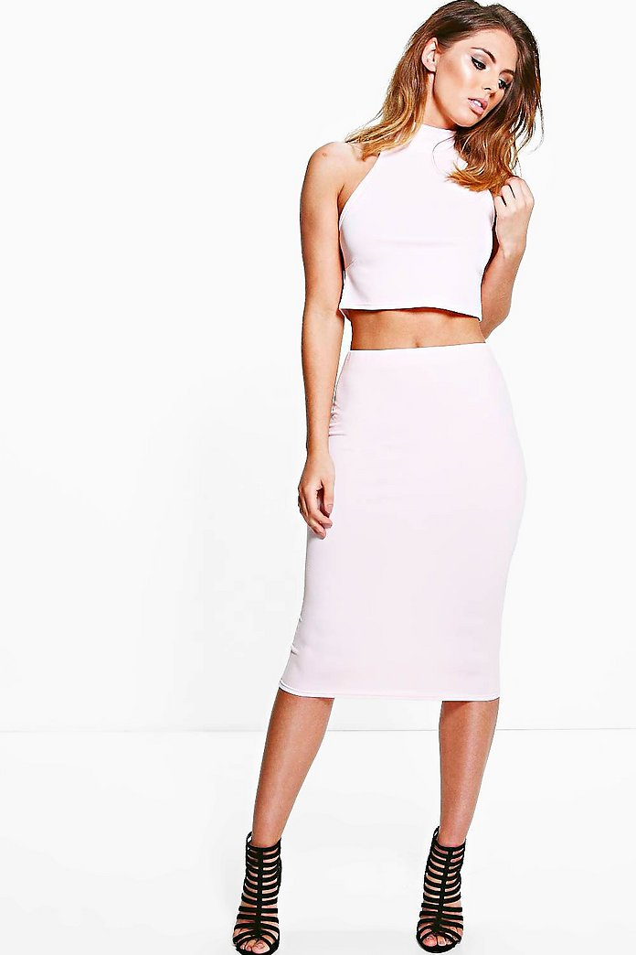 Cara High Neck Crop And Midi Skirt Co-Ord Set