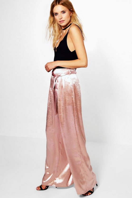 Saskia Tie Waist Satin Woven Wide Leg Trousers