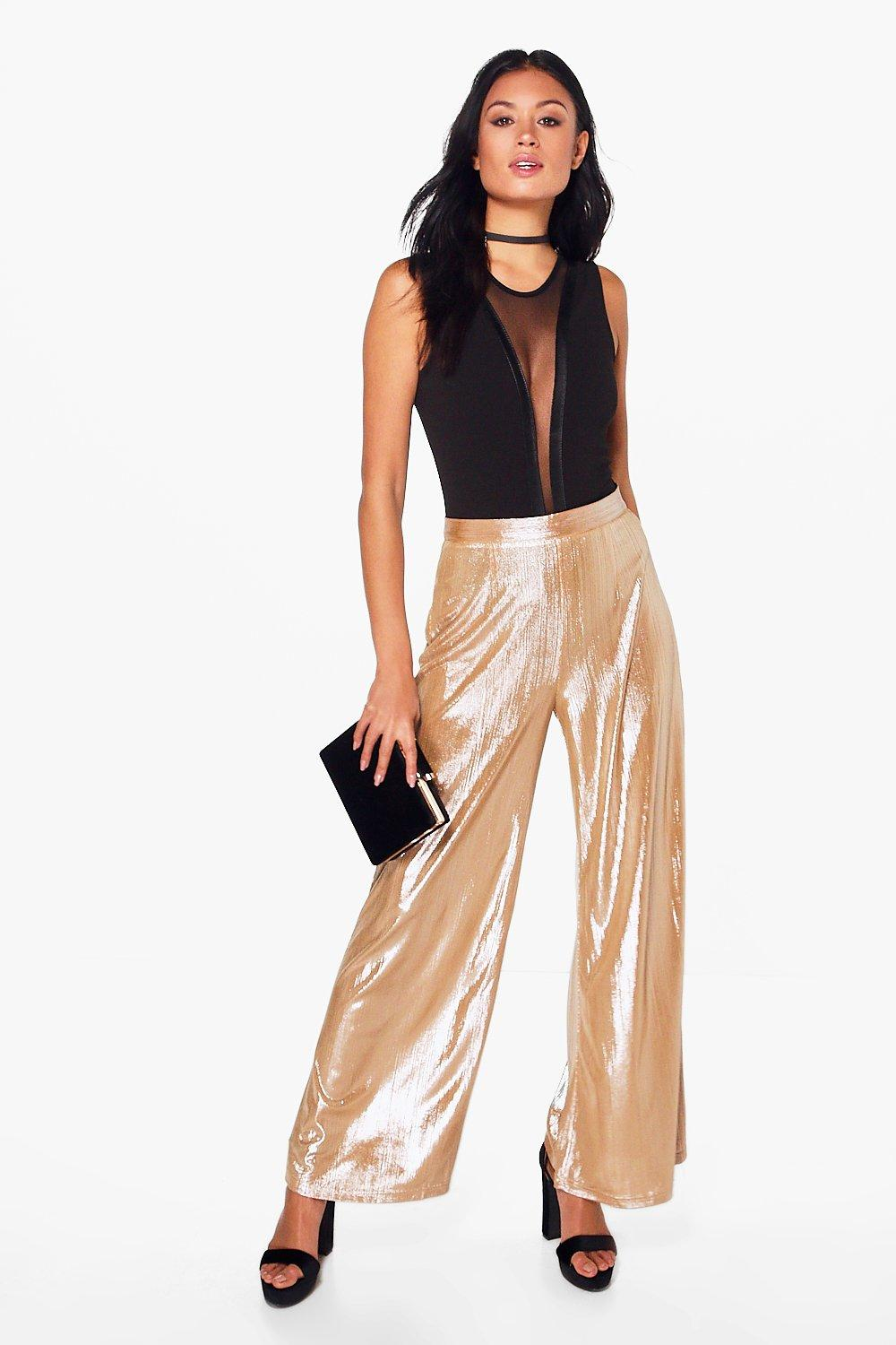 Nova Metallic Wide Leg Trousers