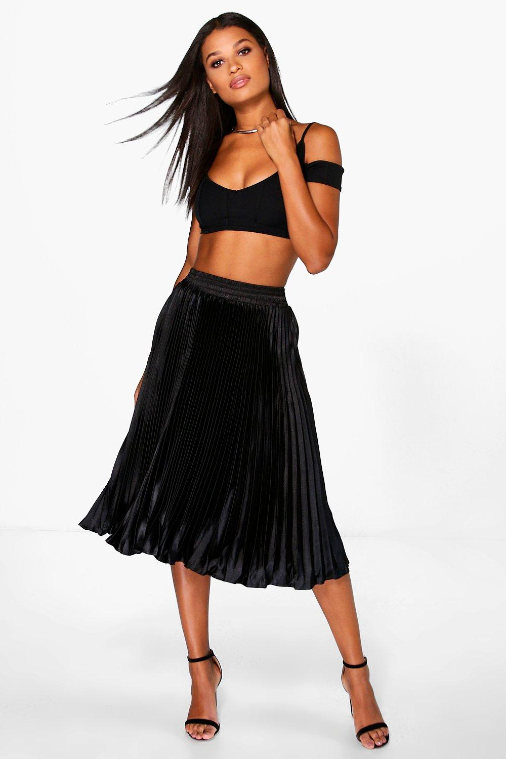 Boutique Ina Pleated Satin Midi Skirt