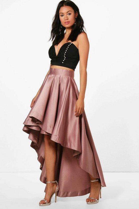 Annia Satin Dipped Hem Full Maxi Skirt