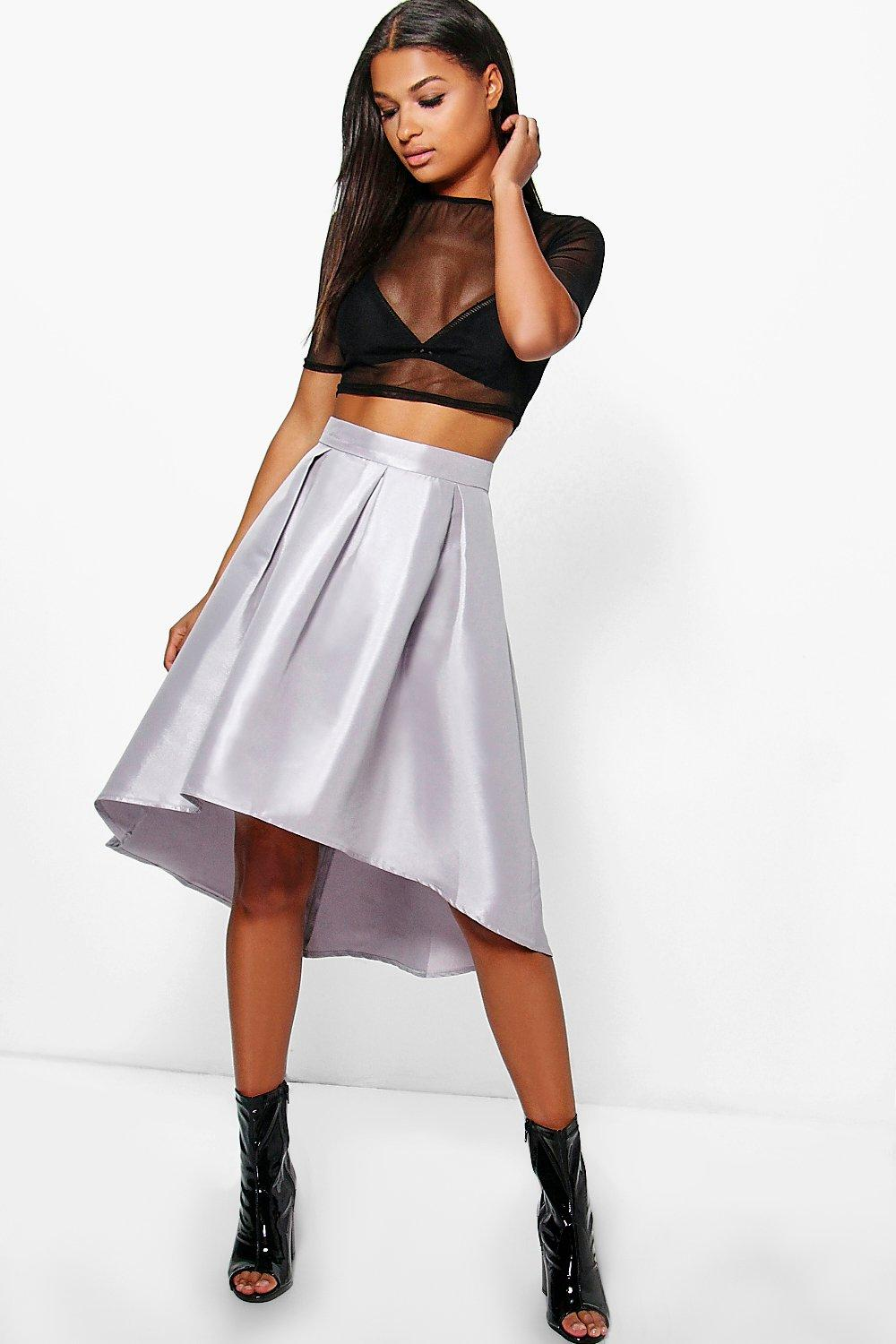 Roxx Dipped Hem Matte Satin Full Skirt