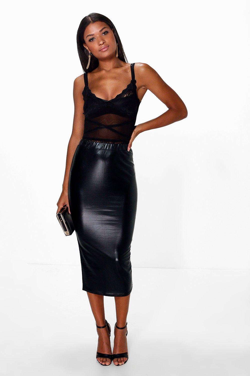 Metallic Longer Line Bodycon Midi Skirt  black