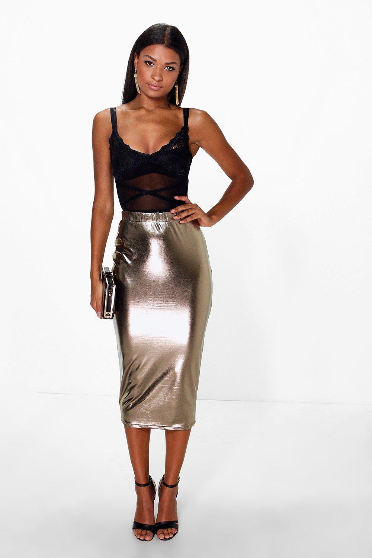 Metallic Longer Line Bodycon Midi Skirt  gold