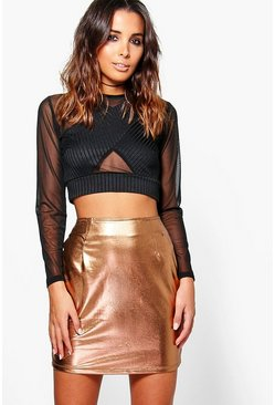 Saffron Metallic Bodycon Mini Skirt
