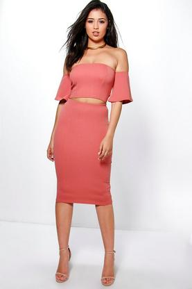 Ruth Off The Shoulder Midi Skirt Co-Ord