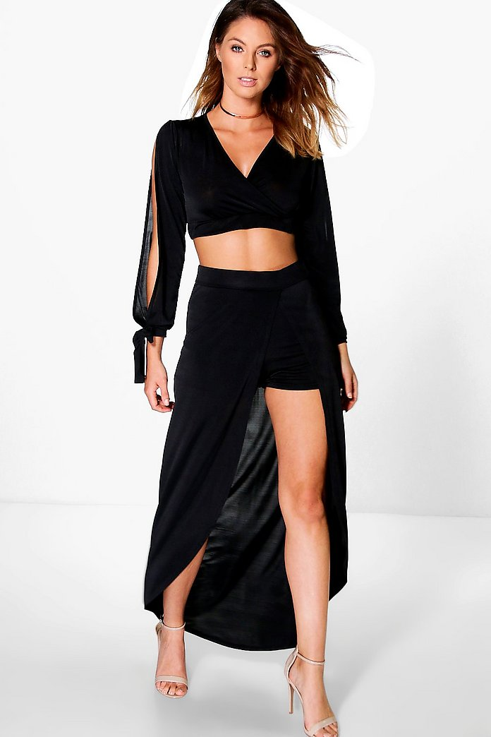Becca Slinky Crop And Split Front Maxi Co-Ord