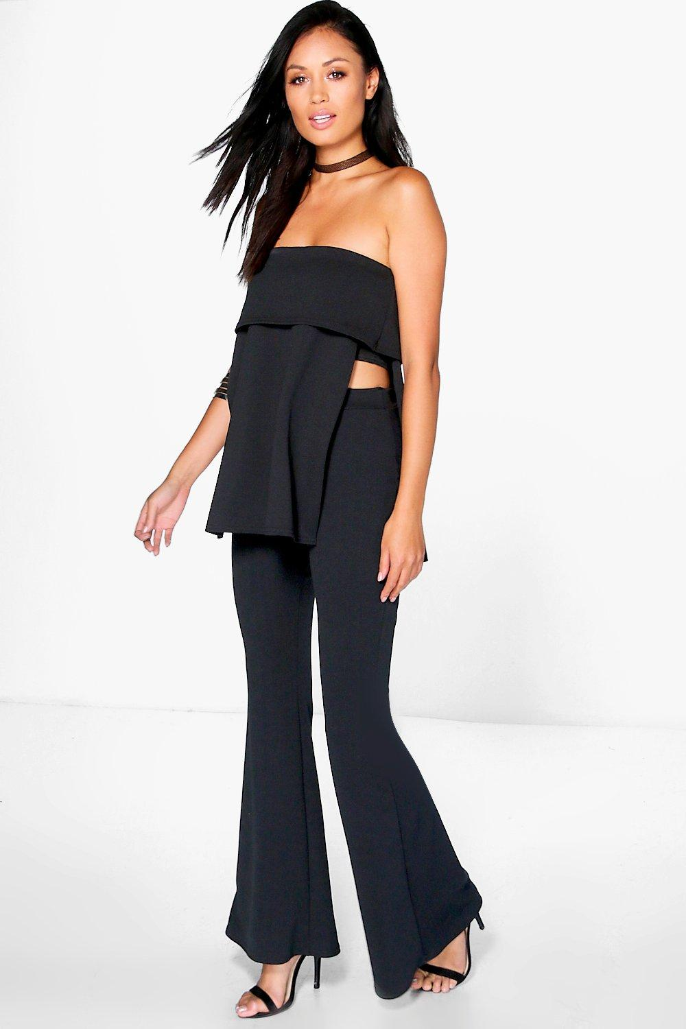 Elly Bandeau Layered Top And Flared Trouser Co-Ord