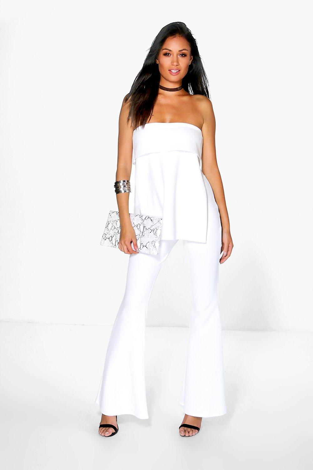 Bandeau Layered Top And Flared Trouser Co-Ord ivory