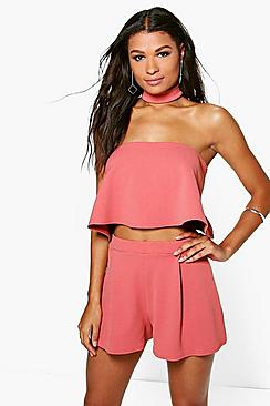 Emily Bandeau Choker Top And Shorts Co-Ord