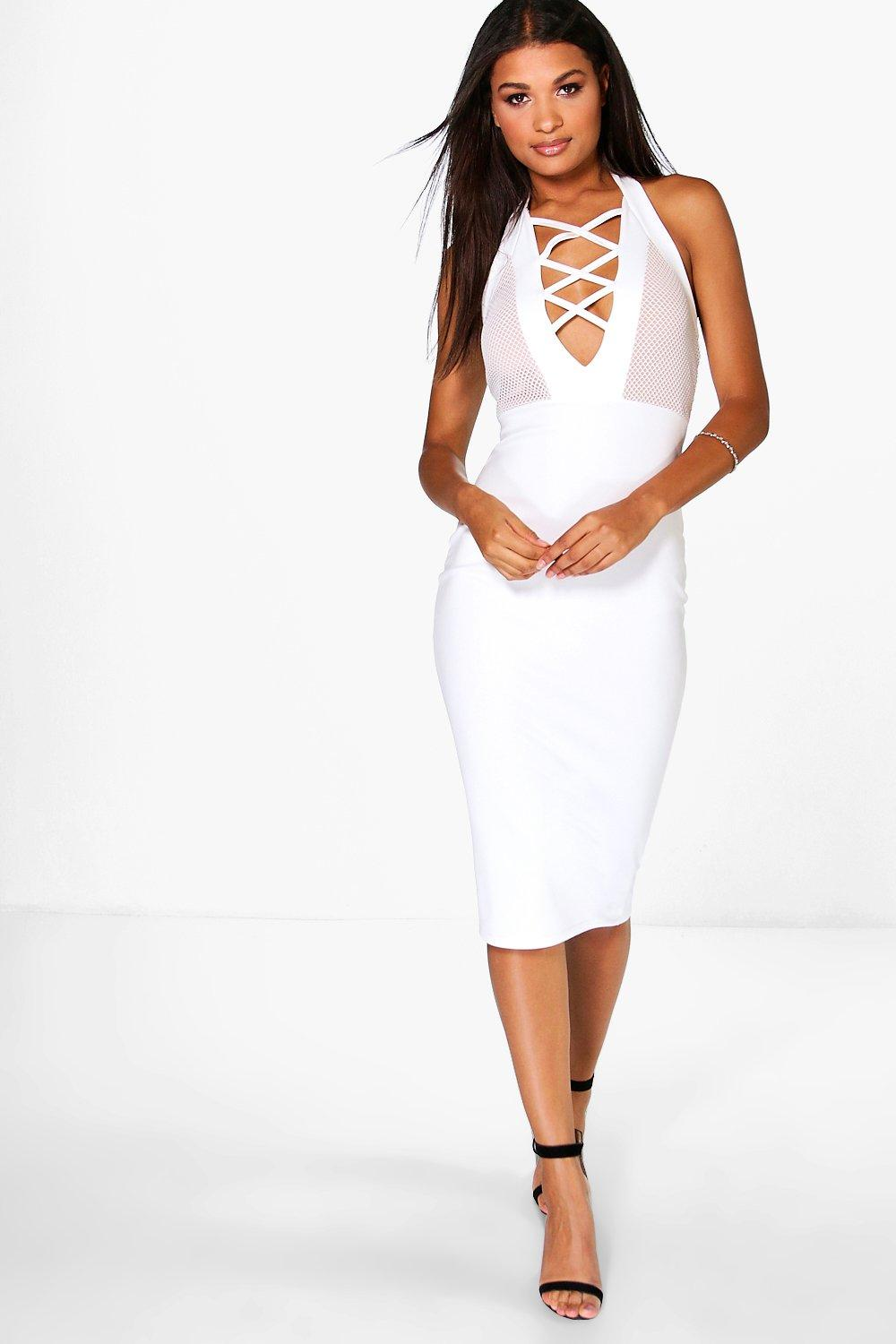 Amber Deep Plunge Bodycon Midi Dress