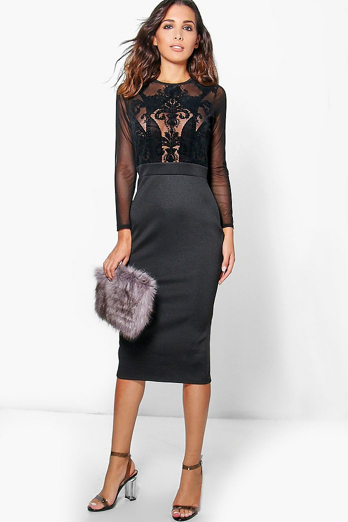 Fiona Flocked Long Sleeve Bodycon Midi Dress