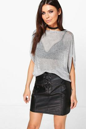 Katie Metallic Oversized Top