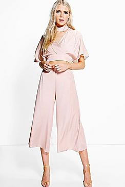 Shannon Satin Wrap Detachable Choker Crop And Culotte Co-Ord