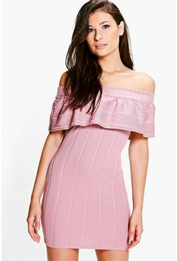Sandy Ruffle Bandage Off Shoulder Dress