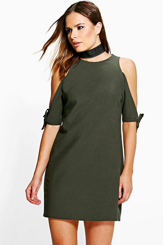 Tanya Tie Sleeve Cold Shoulder Shift Dress