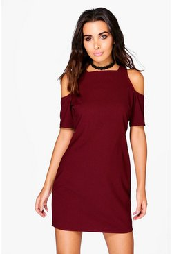 Hayley Cold Shoulder 3/4 Sleeve Shift Dress