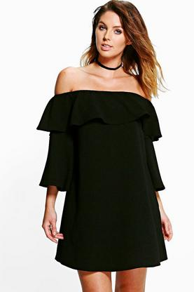 Millie Ruffle Cold Shoulder Shift Dress