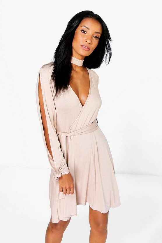 Choker Wrap Dress with Split Sleeve