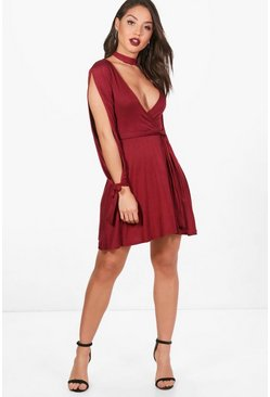Kady Choker Wrap Dress with Split Sleeve