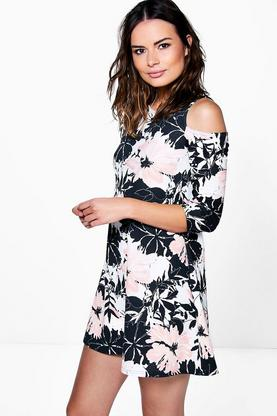 Mona Cold Shoulder Floral Shift Dress