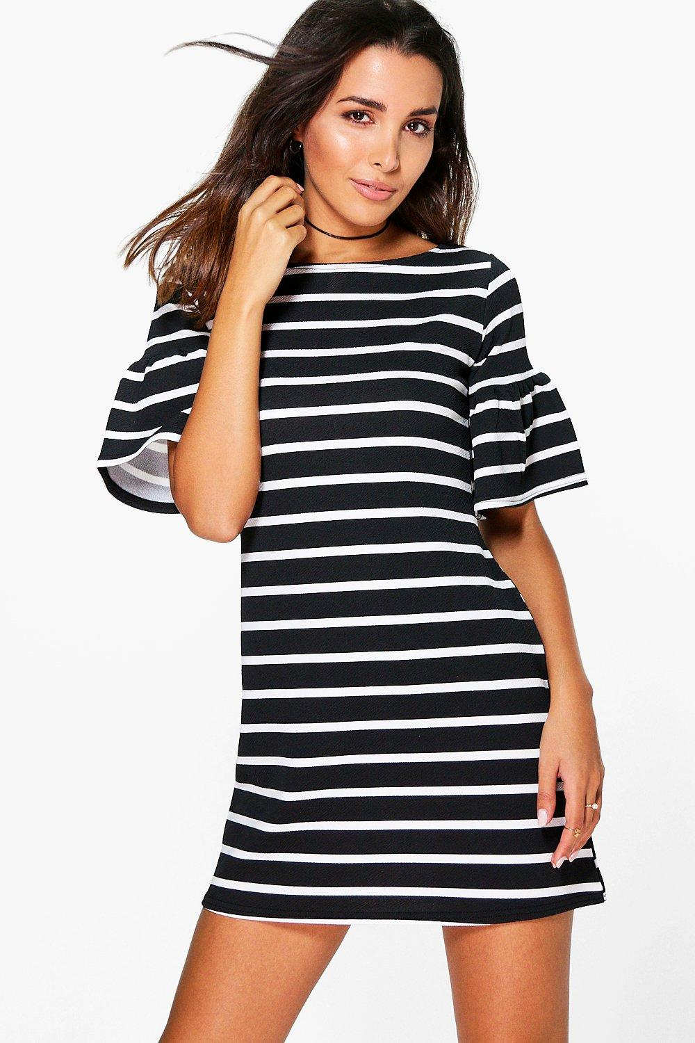 Rosie Stripe Ruffle Sleeve Shift Dress